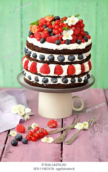 A multi-tier chocolate cake with mascarpone cream and berries