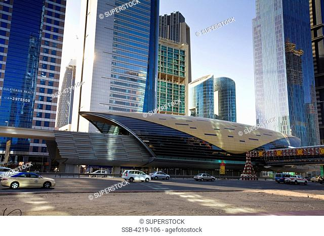 New metro station on Sheikh Zayed Road in the financial district, Dubai, United Arab Emirates