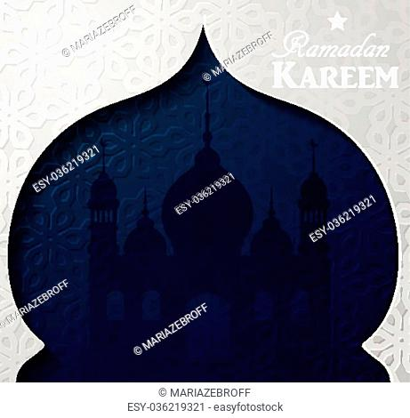 Vector illustration Silhouette of mosque on dark background in paper window