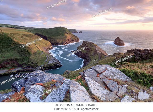 The view over Boscastle Harbour at sunset