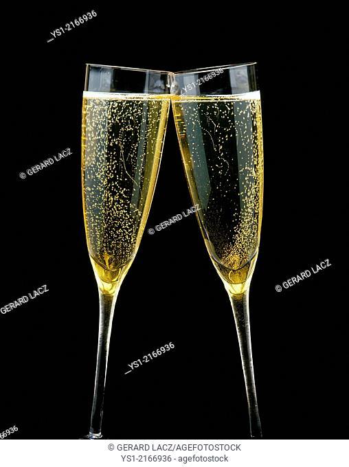 Glasses of Champagne against Black Background