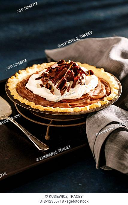 Chocolate pudding pie with whipped cream