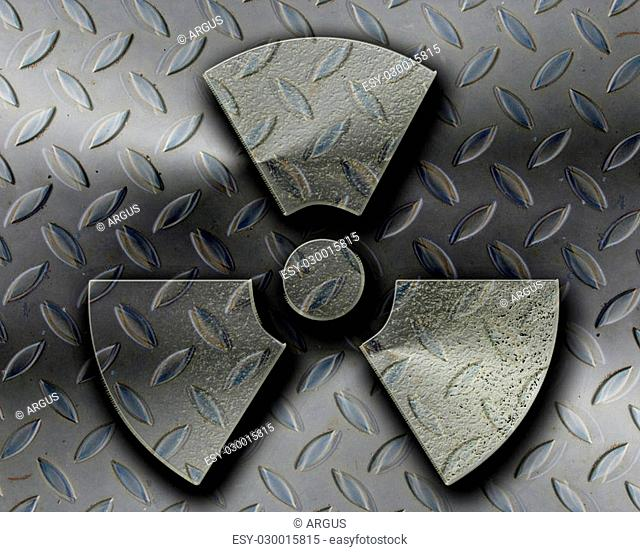 Nuclear danger sign on a grunge background