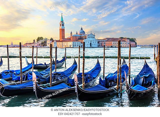 Gondolas mooring and San Giorgio Maggiore view, Venice, Italy