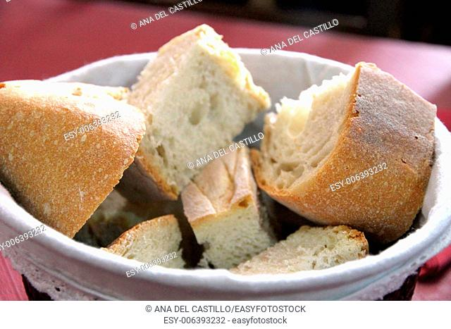 Bread from Galicia on bowl Spain