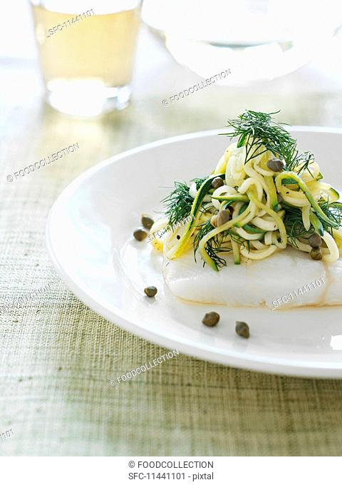 Cod fillet with spaghetti, dill and capers