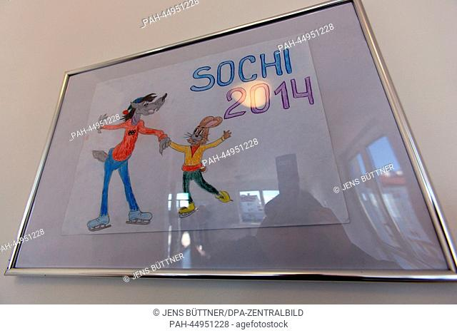 A painting hangs in an athlete apartment in the Olympic Village next to the Olympic Park in Sochi, Russia, 19 December 2013