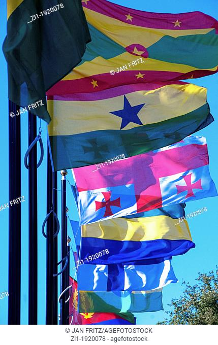 row of country flags against blue sky in international city the Hague, the Netherlands