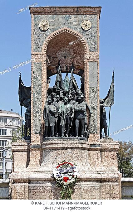Mustafa Kemal Atatuerk and his comrades, independence monument by Pietro Canonica, Taksim Square, Beyoglu, Istanbul, Turkey