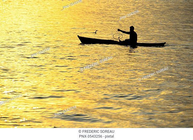 Fisherman in Livingston, Rio Dulce, Guatemala, Central America