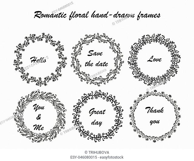 Hand drawn vintage vector design set of round frames. Collection of romantic froral hand-drown frames