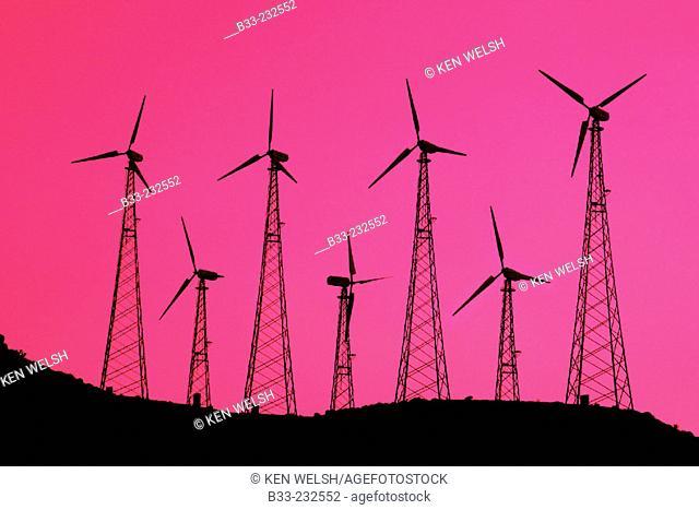 Wind turbines at wind park. Cádiz province. Spain