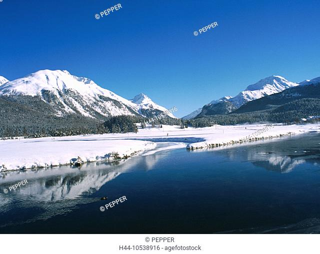 10538916, mountains, Celerina, Switzerland, Europe, Alps, Engadine, Oberengadin, Switzerland, Europe, river, flow, Graubünden