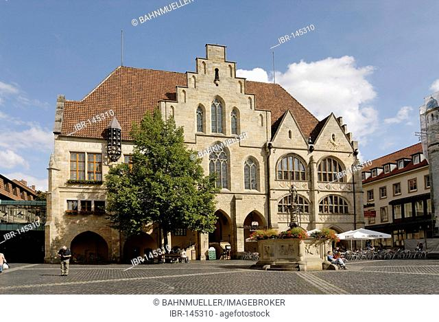 Hildesheim Lower Saxony Germany Marketplace with the town hall and Rolandsbrunnen