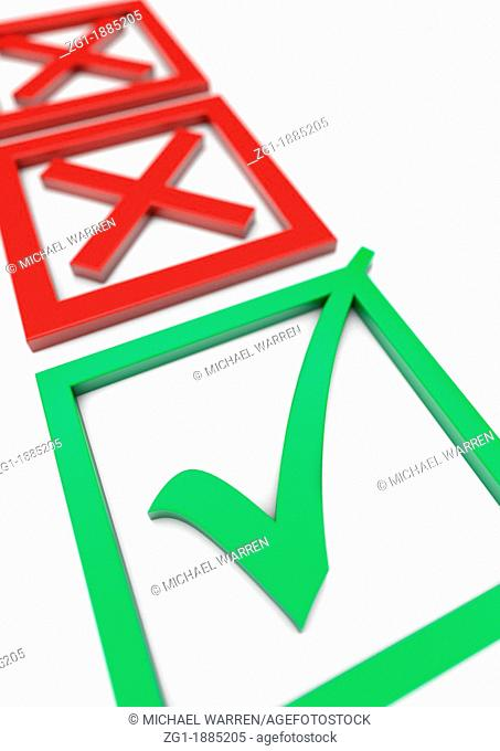 3D render of a filled in Voting slip with two red crosses in the background and a green tick in the foreground - Concept image