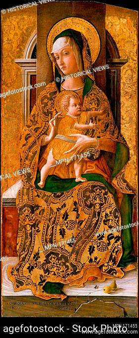 Madonna and Child Enthroned. Artist: Carlo Crivelli (Italian, Venice (?), active by 1457-died 1495 Ascoli Piceno); Date: 1472; Medium: Tempera on wood