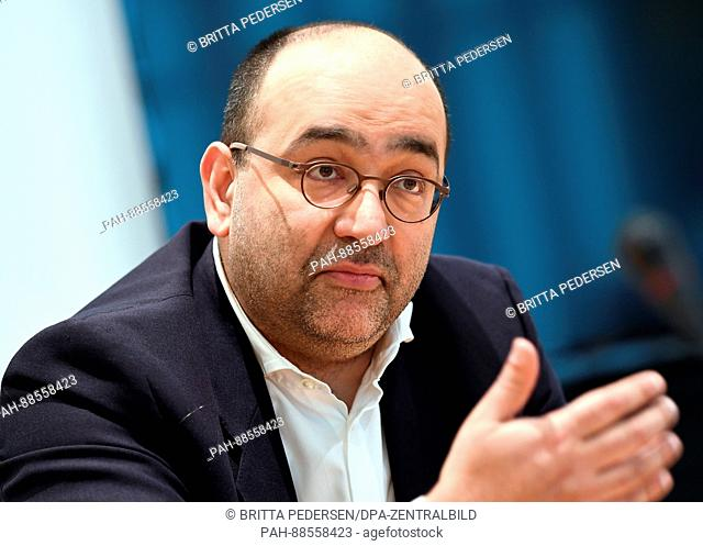 Omid Nouripour, the foreign policy spokesman for the the Greens Bundestag faction, speaking to journalists in Berlin, Germany, 28 February 2017