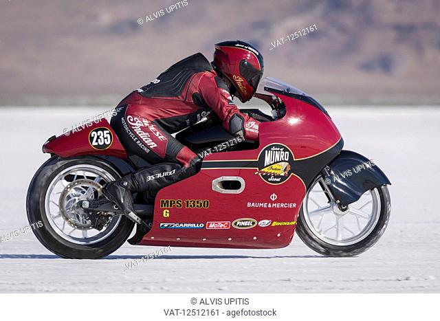 1350cc motorcycle class MPS-G, a 2015 Indian 1300cc trys to break 223.237 mph record on Bonneville Salt Flats during Bonneville Speed Week 2017; Wendover, Utah