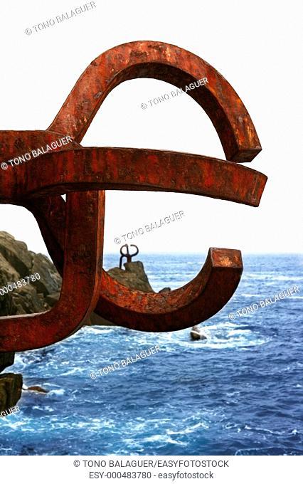 Chillida rusty steel sculpture in San Sebastian sea: Peine de los Vientos