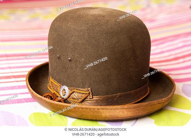Bolivian typical woman's hat (cholita). Bolivia. South America