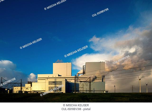 Largest coal burning power plant in Netherlands near Eemshaven harbour