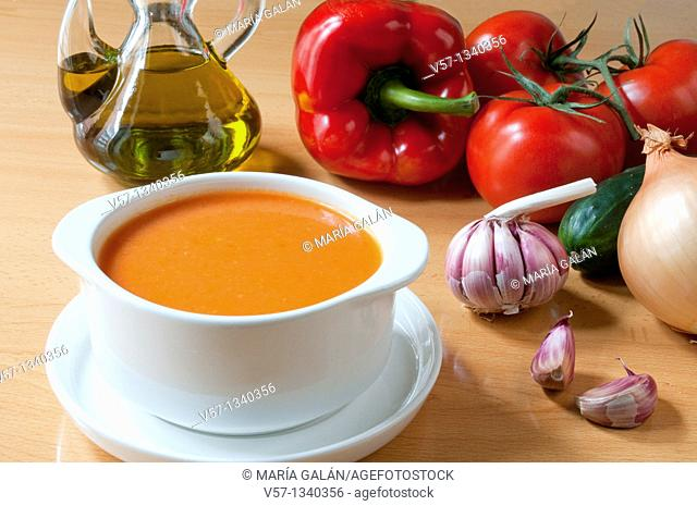 Gazpacho andaluz and ingredients. Andalucía, Spain