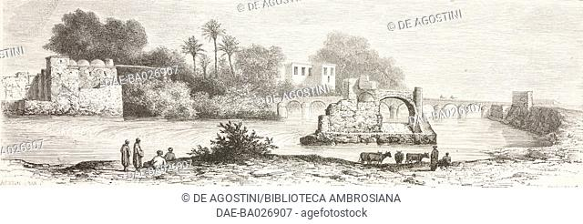 Shores of Medjerdab, Tunis, Tunisia, drawing by Alexandre de Bar (1821-1908), from Voyage a Tunis (Afrique du nord) (1859) by Amabile Crapelet