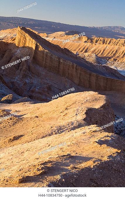 Chile, South America, Valle de la Luna, San Pedro de Atacama, evening light, Andes, Atacama, mountain, mountains, dawn
