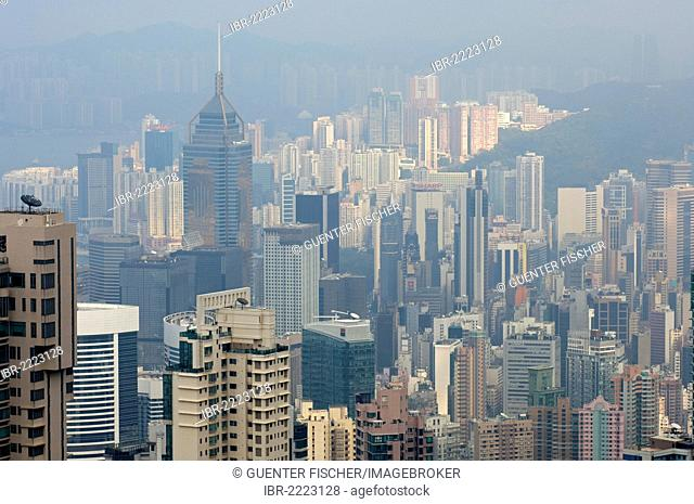 Smog over the skyscrapers in the Central District of Hong Kong, China, Asia