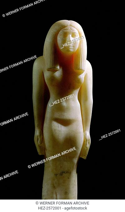 An alabaster statue of a woman wearing a heavy wig. Probably produced in a royal workshop. Country of Origin: Egypt. Culture: Ancient Egyptian
