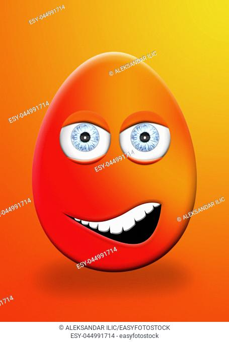 Easter Egg With Eyes and Mouth Face Expression 3D Illustration