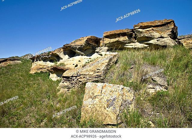 sandstone rock formation on the prairie Roche Perce near Estevan Saskatchewan Canada
