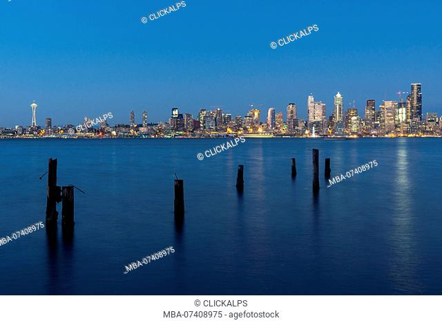 View of Seattle by night, Seattle, State of Washington, West coast, USA