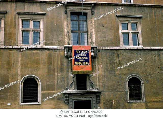 Balcony from which Benito Mussolini spoke during World War 2, Rome, Italy, 1952
