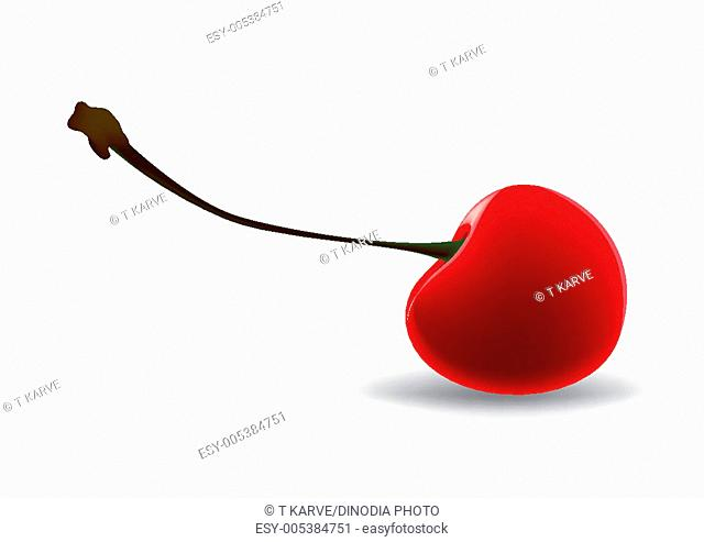 Red cherry fruit drawing on white background PRMR762N