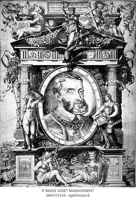 Charles V 1500-1558 Charles I of Spain 1519-1556, Holy Roman Empire 1519-1558. Portrait engraving showing his prominent lower 'Hapsburg' deformed jaw which made...