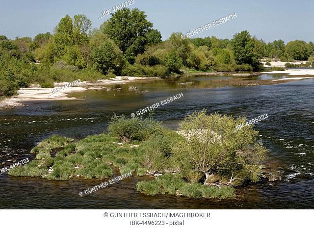 River landscape, Loire at La Charité, France