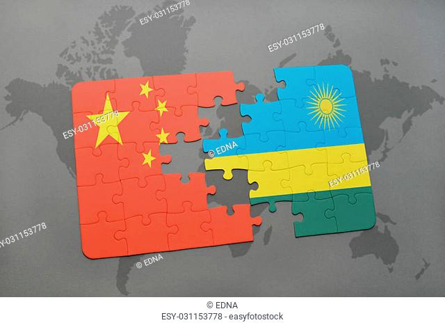puzzle with the national flag of china and rwanda on a world map background. 3D illustration