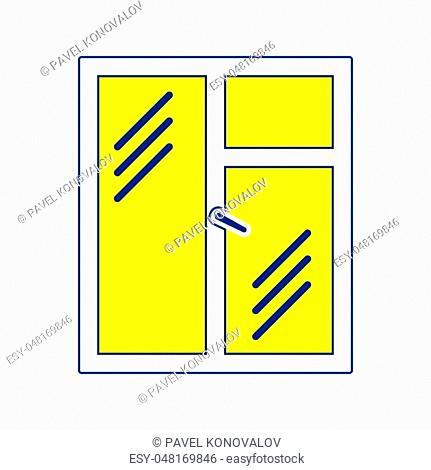 Icon of closed window frame. Thin line design. Vector illustration