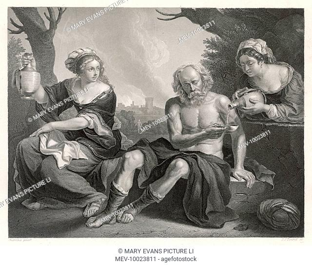 Lot and his two remaining daughters rest while the two cities burn in the background