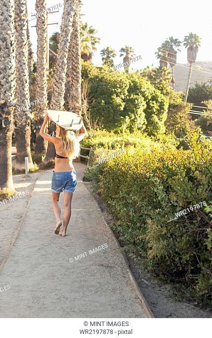 Blond woman in a black bikini and denim shorts carrying a surfboard on a path lined with palm trees
