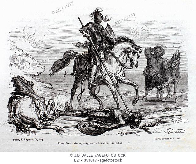 'Vous étes vaincu, seigneur chevalier, lui dit-il', The Ingenious Gentleman Don Quixote of La Mancha by Miguel de Cervantes