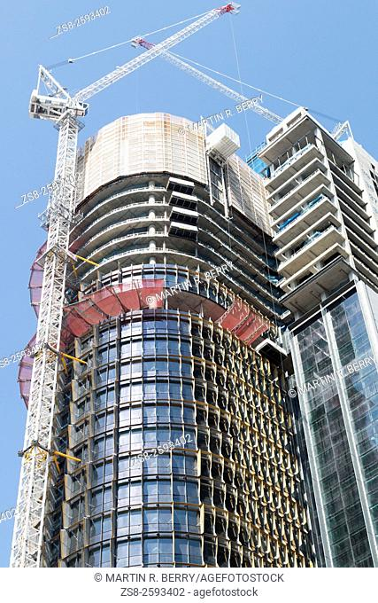 Construction of Office Towers at Barangaroo in Sydney city centre,Australia