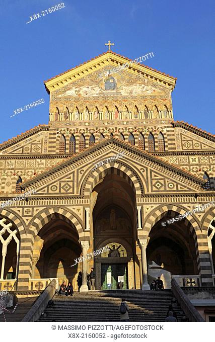 The facade of Amalfi Cathedral in Piazza Duomo, Amalfi, Italy
