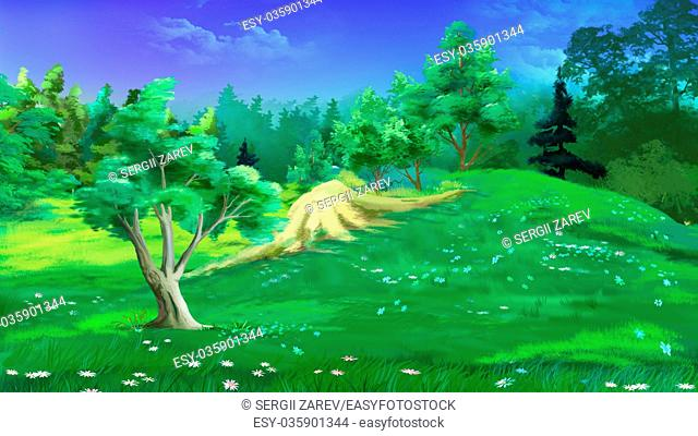 Idyllic Landscape with Grass and Flowers in a Summer Day. Digital Painting Background, Illustration in cartoon style character