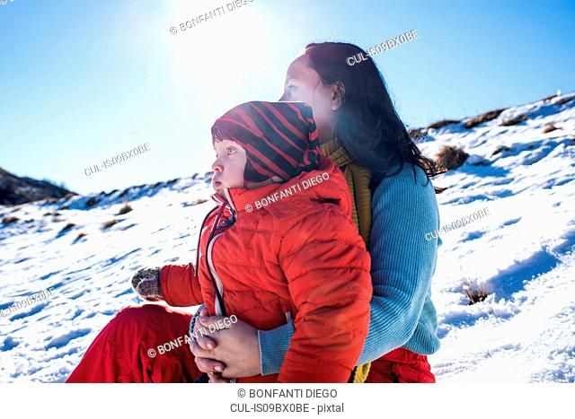 Mother and son in Piani Resinelli, Lombardy, Italy
