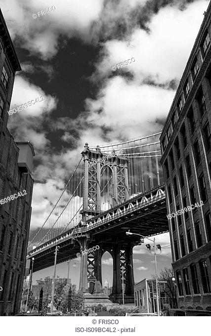Low angle view of Brooklyn Bridge, B&W, New York, USA