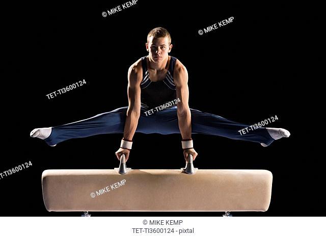 Gymnast on pommel horse