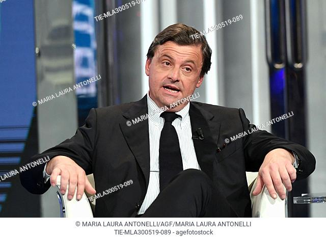 Italian European Deputy of Democratic Party Carlo Calenda during the tv show Porta a porta, Rome, ITALY-29-05-2019