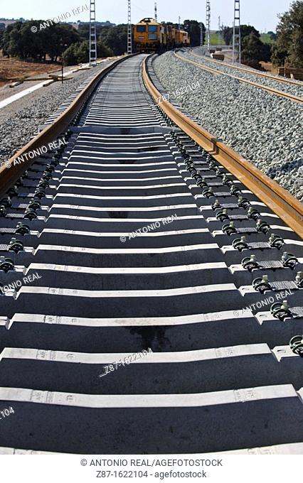 Railway, Alpera, Albacete province, Castilla-La Mancha, Spain